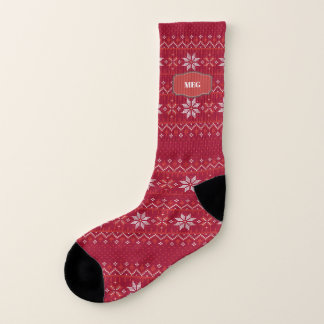 Soft Red Fair Isle Print with Name Socks