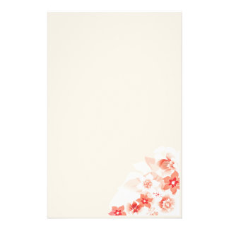 Soft Red Flowers - Stationary - 2 Custom Stationery