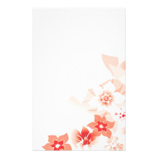 Soft Red Flowers - Stationary - 3 Personalized Stationery