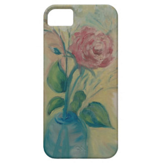 soft red rose in a blue vase iPhone 5 cover