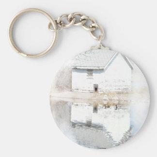 Soft reflections basic round button keychain