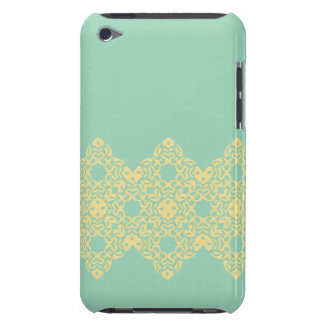 Soft, Retro Yellow Lace Against Pale Teal iPod Touch Case-Mate Case