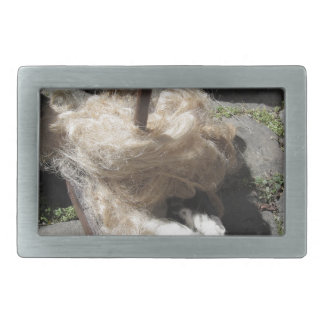 Soft rolls of wool called rovings or rolags belt buckle