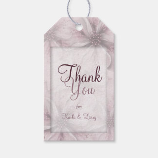 Soft Romantic Pink Floral Thank You Gift Tags