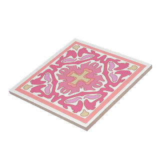Soft Rose Coral and Beige Geometric Abstract Tile