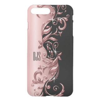Soft Rose Gold Ornate Design   Monogram iPhone 8 Plus/7 Plus Case