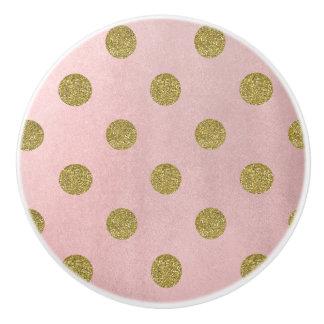 Soft Rose Pink Gold Glitter Glam Polka Dots Chic Ceramic Knob