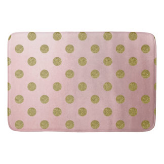 Soft Rose Pink Gold Glitter Glam Polka Dots Cute Bath Mat