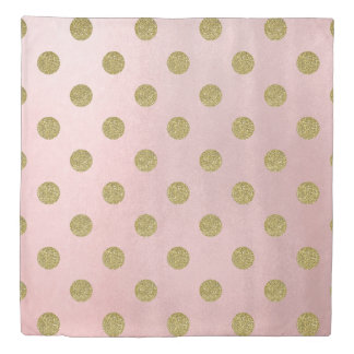 Soft Rose Pink Gold Glitter Glam Polka Dots Cute Duvet Cover