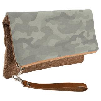 Soft Sage Camouflage Army Print Foldover Clutch