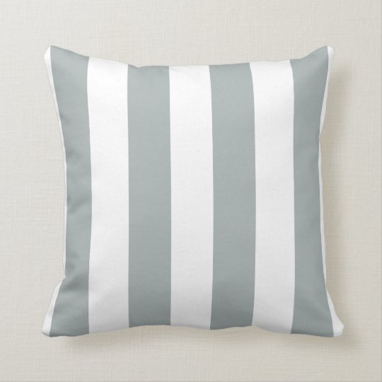 Soft Sage Grey and White Striped Throw Pillow