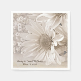 soft sepia daisy wedding bouquet paper napkin