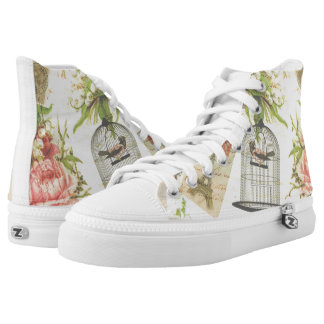 Soft Shabby Chic Vintage Art Zip High Tops