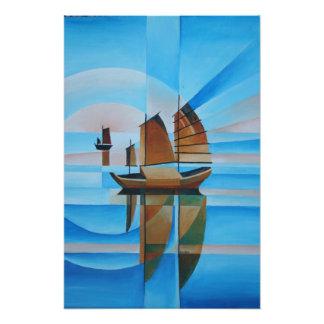 Soft Skies, Cerulean Seas and Cubist Junks Art Photo