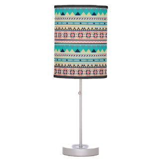 Soft Southwest Tribal Pattern Pink Turquoise Gold Table Lamps