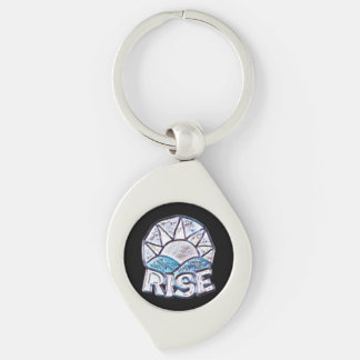 Soft Sun Rise ~ Uplifting Message Silver-Colored Swirl Keychain