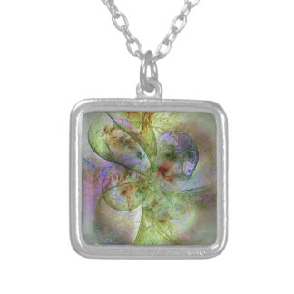 Soft Swirling Colors Abstract Silver Plated Necklace
