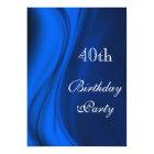 Soft Swirls Of Blue 40th Birthday Card