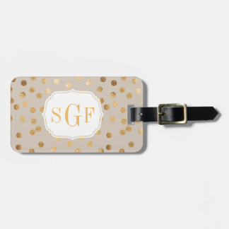 Soft Tan and Gold Glitter City Dots Monogram Luggage Tag