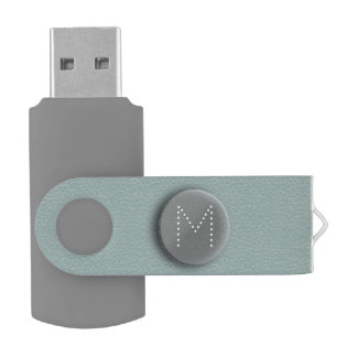 Soft Teal Faux 3D Monogram USB Flash Drive