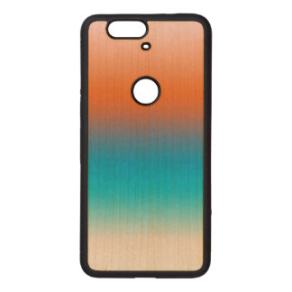 Soft Toned Orange Blue Beige White Pattern Wood Nexus 6P Case