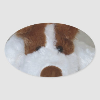 Soft Toy Puppy Oval Sticker