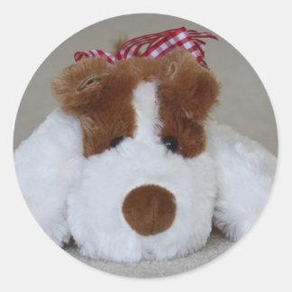 Soft Toy Puppy Round Sticker