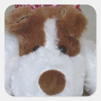 Soft Toy Puppy Square Sticker