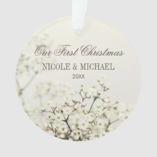 Soft Vintage Baby's Breath Our First Christmas Ornament