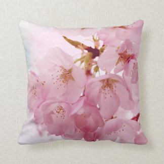 Soft Vintage Cherry Blossoms Throw Pillow