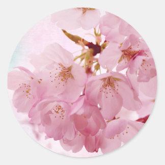 Soft Vintage Pink Cherry Blossoms Classic Round Sticker