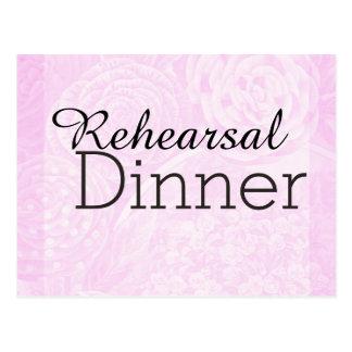 Soft vintage rose pink rehearsal dinner invite postcard
