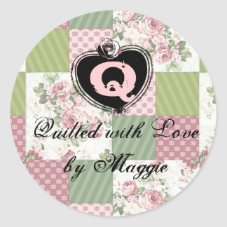 soft vintage roses patchwork quilt quilting label