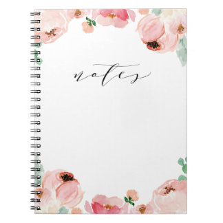 Soft Watercolor Flower Blogger Notebook