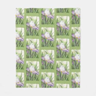 Soft Watercolor Iris Fleece Blanket