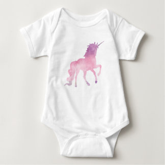 Soft watercolor pink unicorn baby bodysuit