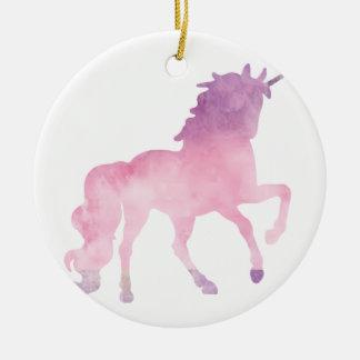Soft watercolor pink unicorn ceramic ornament