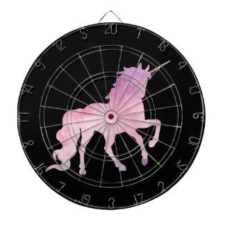 Soft watercolor pink unicorn dartboard