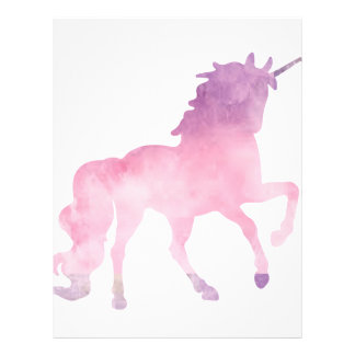 Soft watercolor pink unicorn letterhead