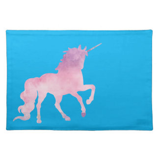 Soft watercolor pink unicorn placemat