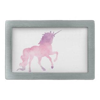Soft watercolor pink unicorn rectangular belt buckle
