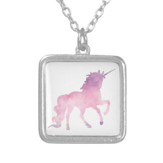 Soft watercolor pink unicorn silver plated necklace