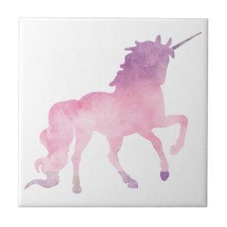 Soft watercolor pink unicorn tile