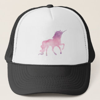 Soft watercolor pink unicorn trucker hat