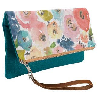 Soft Watercolor Spring Floral Designer Clutch Bag