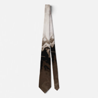 Soft White & Brown Abstract Tie