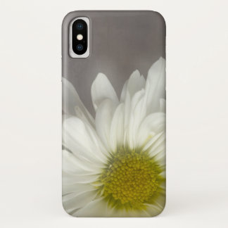 Soft White Daisy on Gray iPhone X Case