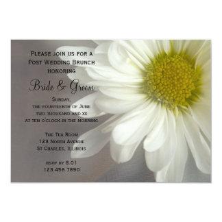 Soft White Daisy on Gray Post Wedding Brunch Card