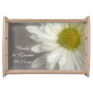 Soft White Daisy on Gray Wedding Serving Tray