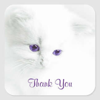 Soft White Kitten with Purple Eyes Thank You Square Sticker